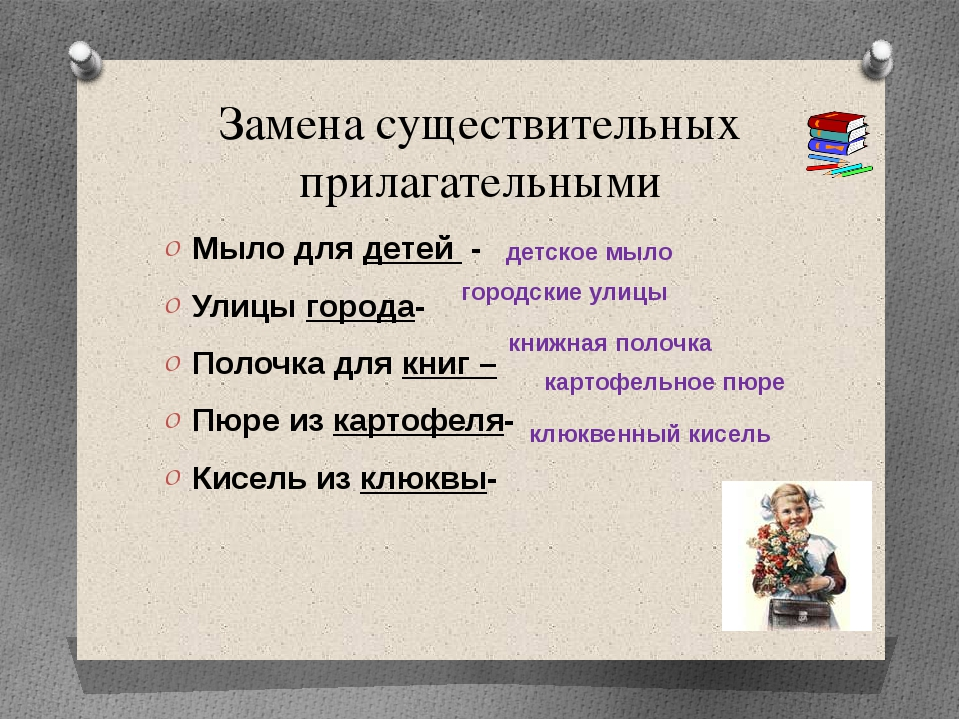 Замена существительных прилагательными Мыло для детей - Улицы города- Полочка...