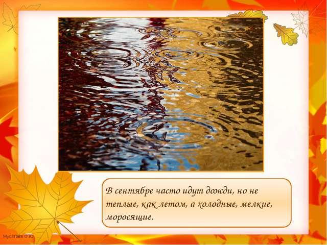 В сентябре часто идут дожди, но не теплые, как летом, а холодные, мелкие, мо...