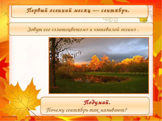 Первый осенний месяц — сентябрь. Зовут его «златоцветом» и «запевалой осени»...