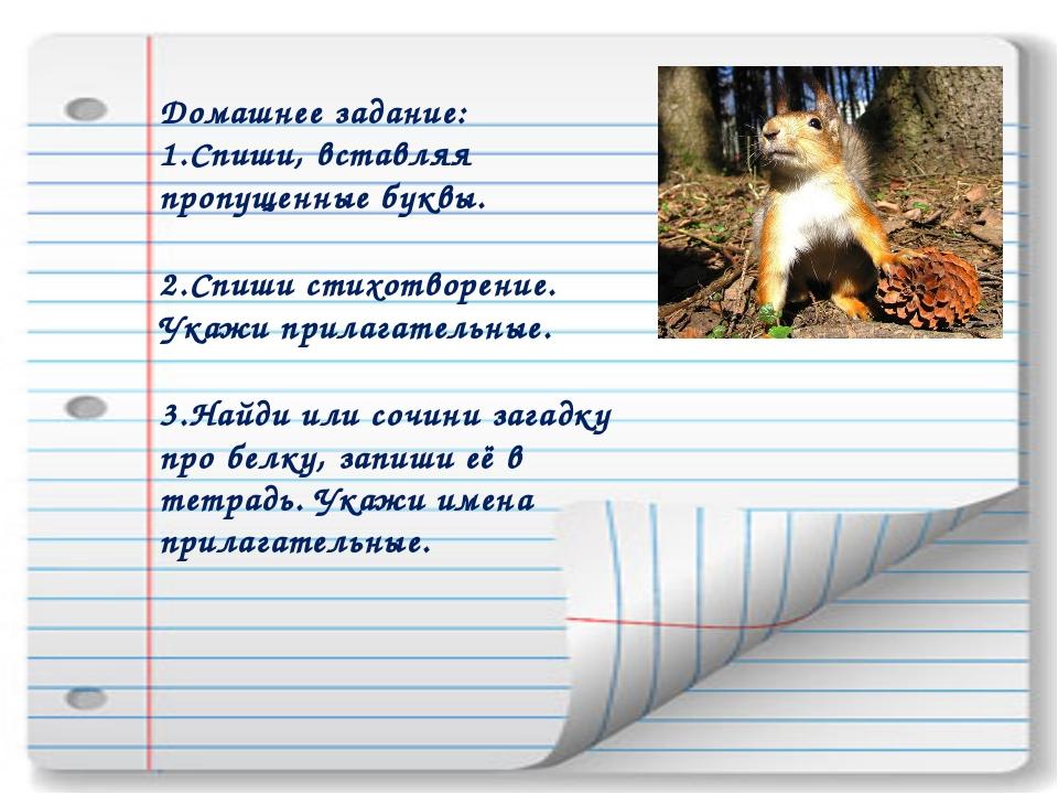 Домашнее задание: Спиши, вставляя пропущенные буквы. Спиши стихотворение. Ука...