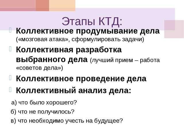 Этапы КТД: Коллективное продумывание дела («мозговая атака», сформулировать з...