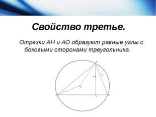 Свойство третье. Отрезки АН и АО образуют равные углы с боковыми сторонами т