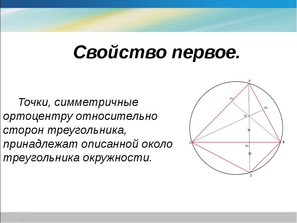 Свойство первое. Точки, симметричные ортоцентру относительно сторон треуголь...