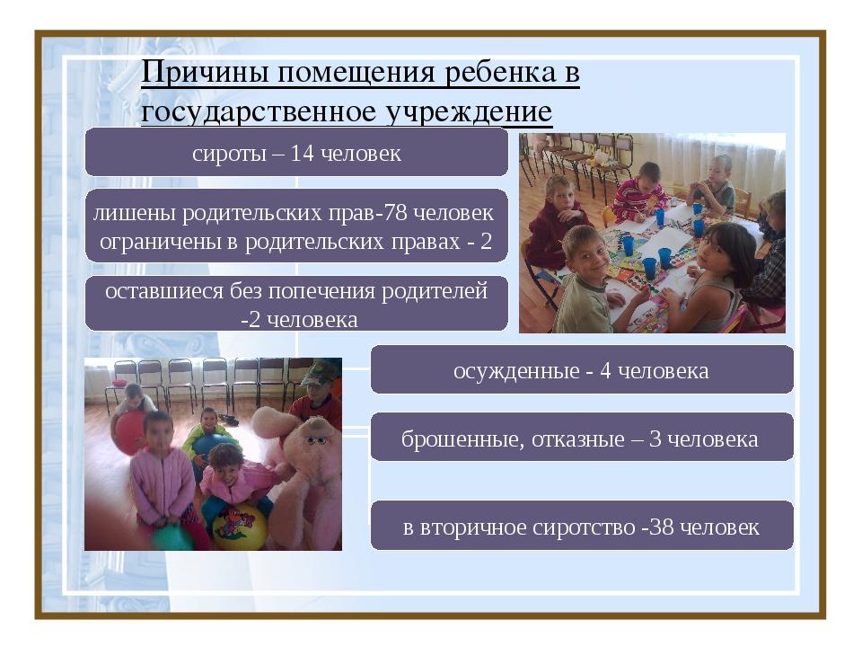 Причины помещения ребенка в государственное учреждение