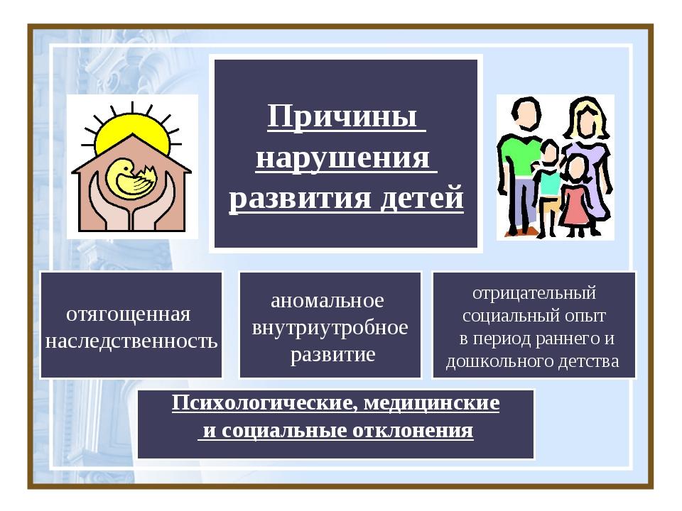 Причины нарушения развития детей аномальное внутриутробное развитие отрицател...