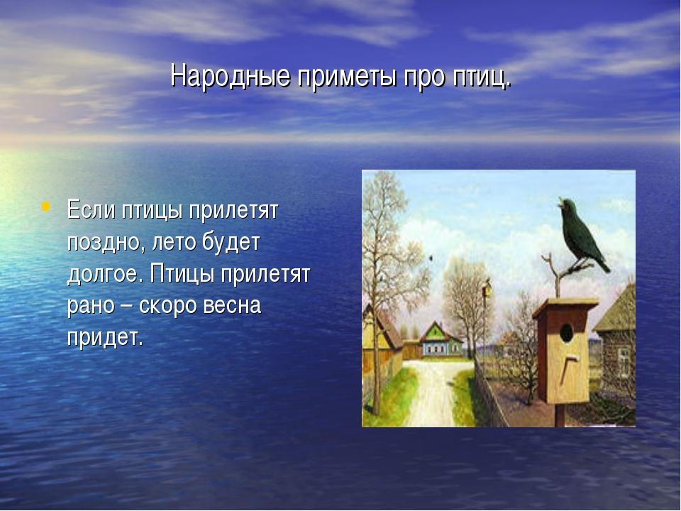 Народные приметы про птиц. Если птицы прилетят поздно, лето будет долгое. Пти...