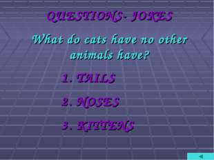 QUESTIONS- JOKES What do cats have no other animals have? TAILS NOSES KITTENS