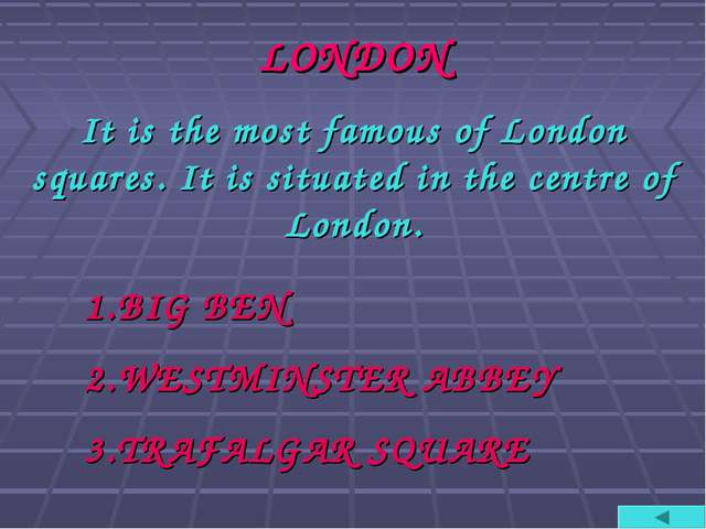 LONDON It is the most famous of London squares. It is situated in the centre...