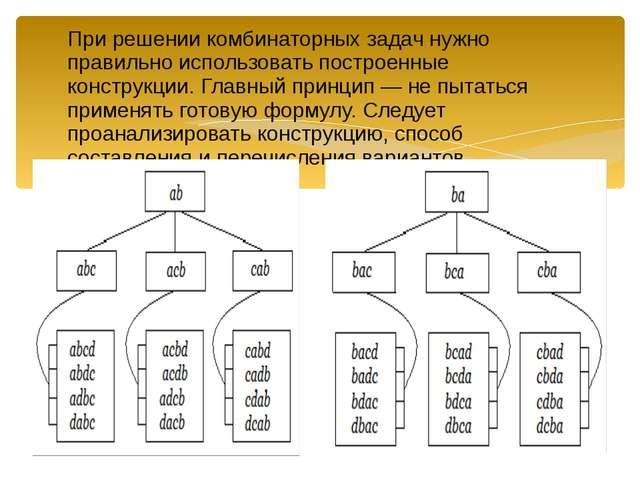 При решении комбинаторных задач нужно правильно использовать построенные кон...