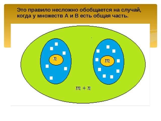 Это правило несложно обобщается на случай, когда у множеств А и В есть общая...