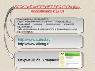 БЛОК №5 ИНТЕРНЕТ-РЕСУРСЫ (при подготовке к ЕГЭ) http://www.uztest.ru http://w