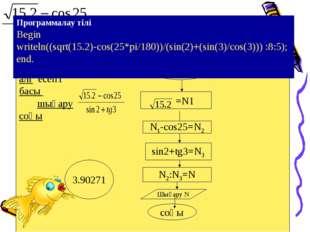 алг есеп1 басы шығару соңы басы =N1 N1-cos25=N2 sin2+tg3=N3 N2:N3=N соңы Про