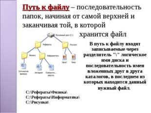 Путь к файлу – последовательность папок, начиная от самой верхней и заканчива