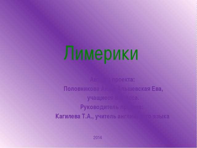 Лимерики Авторы проекта: Половникова Анна, Альшевская Ева, учащиеся 6 класса....