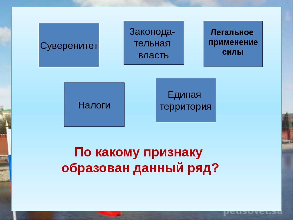 Суверенитет Единая территория Налоги Законода- тельная власть Легальное прим...