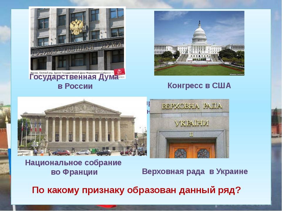 По какому признаку образован данный ряд? Государственная Дума в России Конгр...