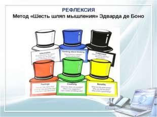 РЕФЛЕКСИЯ Метод «Шесть шляп мышления» ЭдвардадеБоно