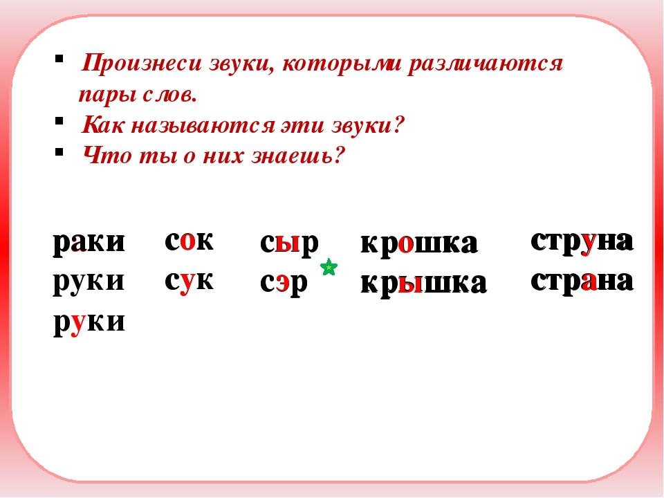 красивая Произнеси звуки, которыми различаются пары слов. Как называются эти...