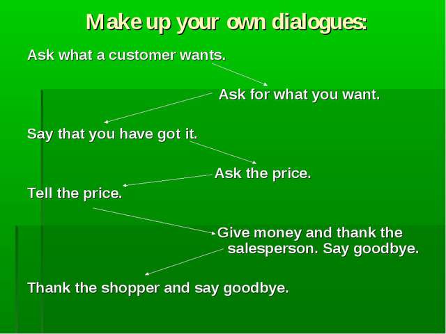 Make up your own dialogues: Ask what a customer wants. Ask for what you want....
