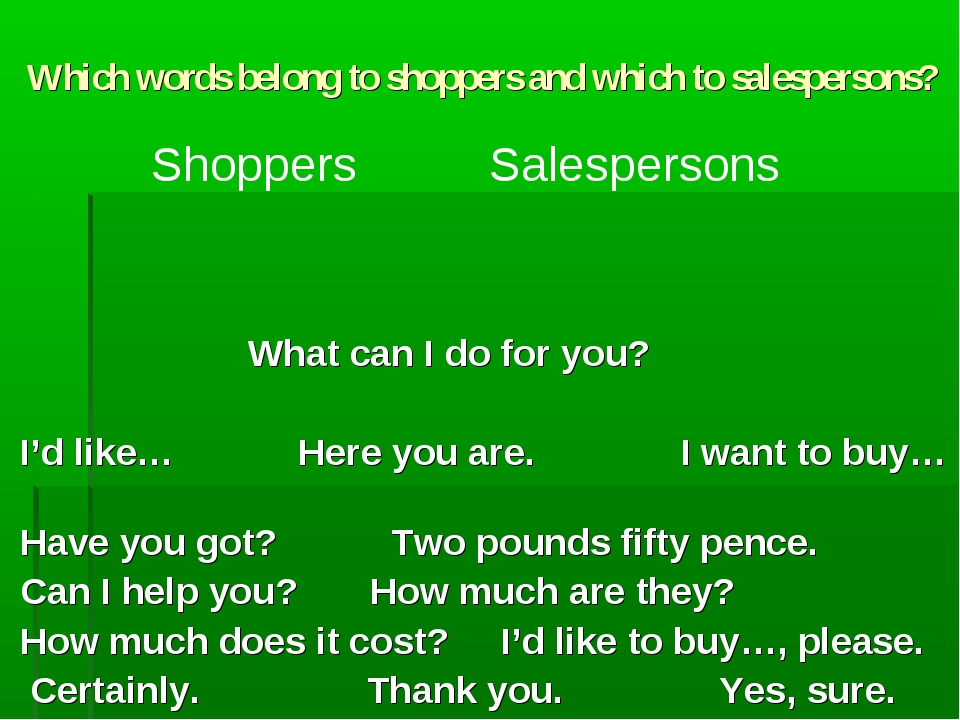 Which words belong to shoppers and which to salespersons? What can I do for y...