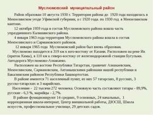 Муслюмовский муниципальный район Район образован 10 августа 1930 г. Территори