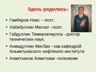 Здесь родились: Гамбаров Наис – поэт; Хабибуллин Мисхат –поэт; Габдуллин Тиме