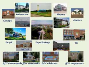 Библиотека Мизгел Ак Барс «Колос» Парк Победы Лицей ПУ МСОШ Гимназия ДОУ «Мил