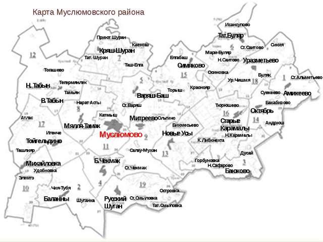 Карта Муслюмовского района