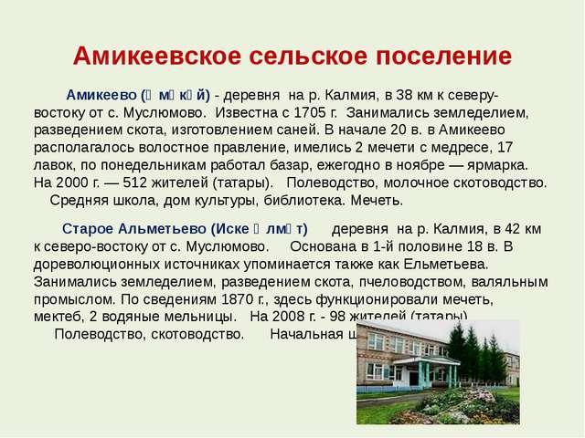 Амикеевское сельское поселение Амикеево (Әмәкәй) - деревня на р. Калмия, в 38...