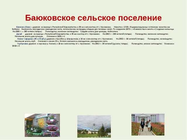 Баюковское сельское поселение  Баюково (Баек) – деревня на границе с Рес...