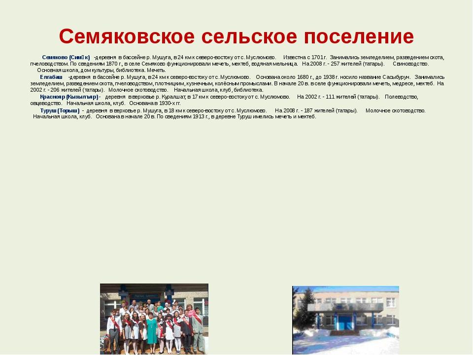 Семяковское сельское поселение  Семяково (Симәк) -деревня в бассейне р...