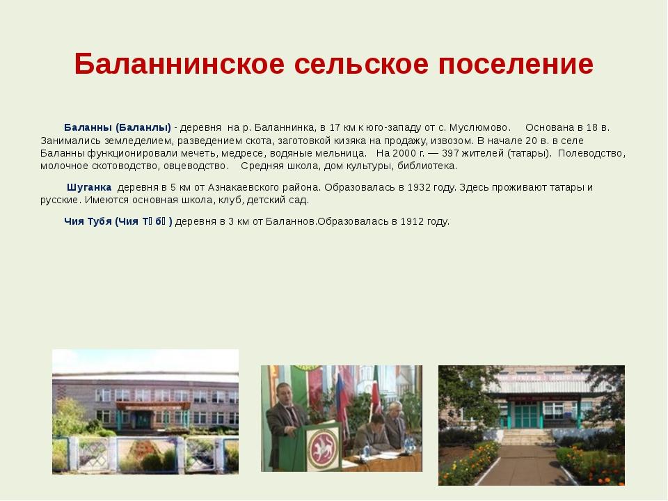 Баланнинское сельское поселение Баланны (Баланлы) - деревня на р. Баланнинка,...