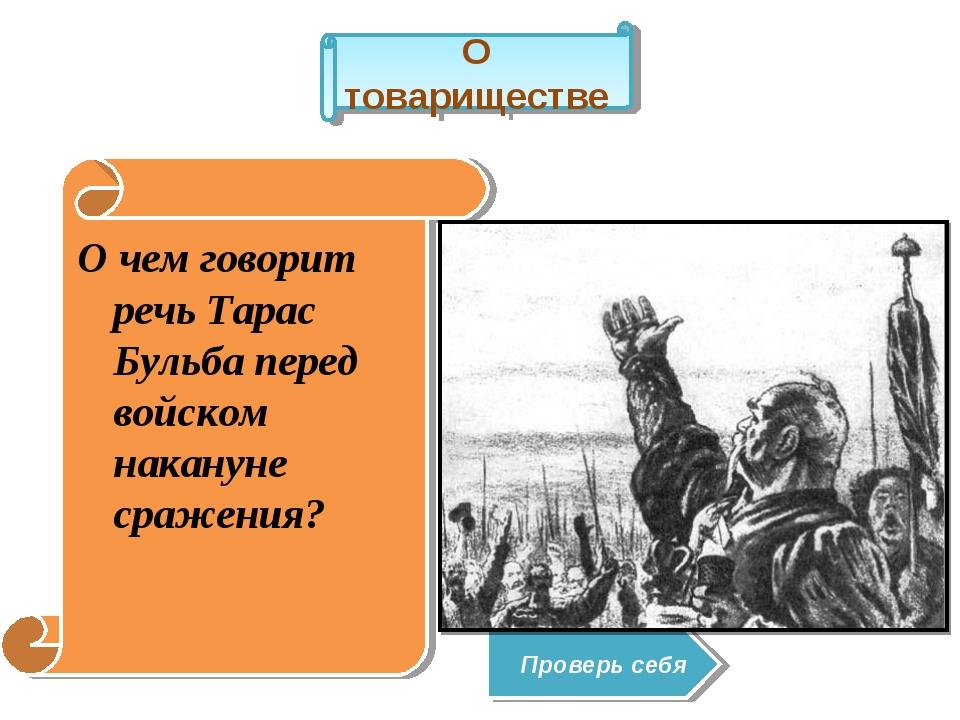 О чем говорит речь Тарас Бульба перед войском накануне сражения? О товарищест...