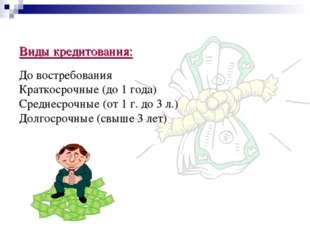 Виды кредитования: До востребования Краткосрочные (до 1 года) Среднесрочные (