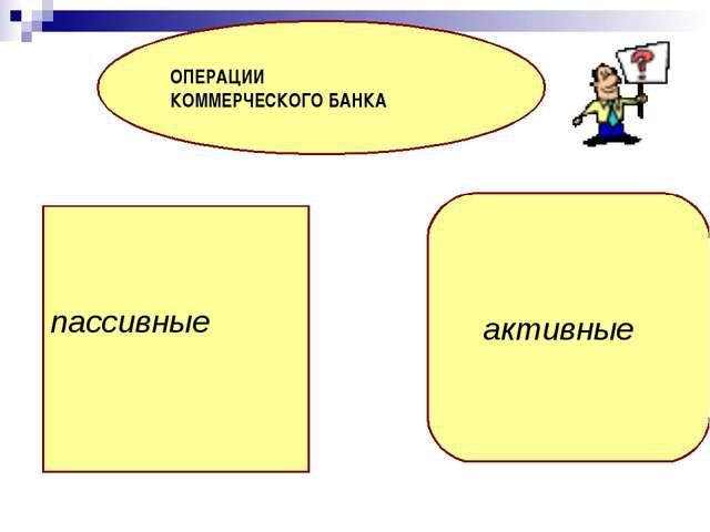пассивные ОПЕРАЦИИ КОММЕРЧЕСКОГО БАНКА активные