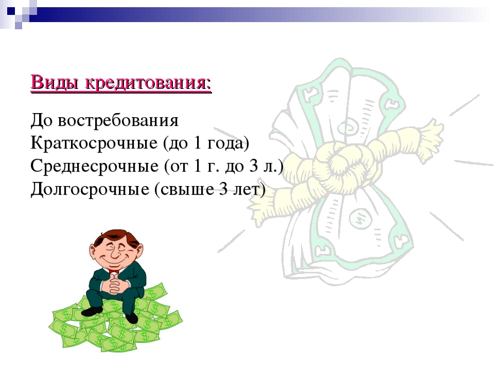 Виды кредитования: До востребования Краткосрочные (до 1 года) Среднесрочные (...