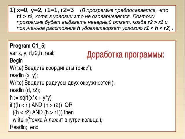 x=0, y=2, r1=1, r2=3 (В программе предполагается, что r1 > r2, хотя в условии...
