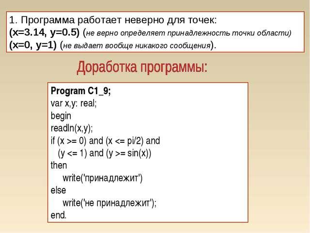 1. Программа работает неверно для точек: (x=3.14, y=0.5) (не верно определяет...