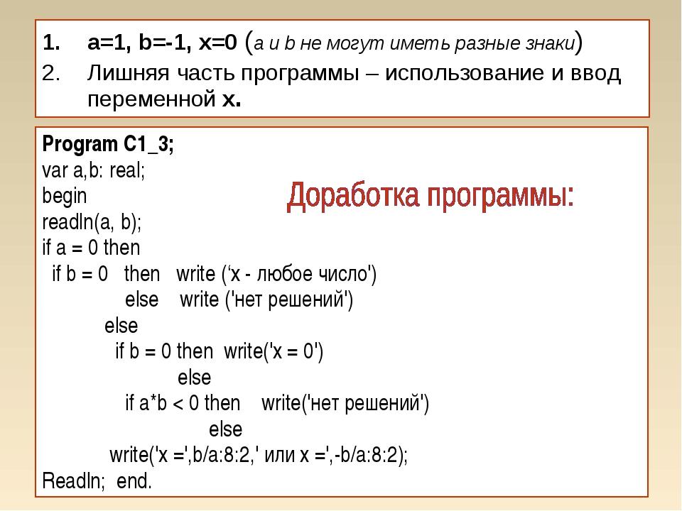 a=1, b=-1, x=0 (a и b не могут иметь разные знаки) Лишняя часть программы – и...