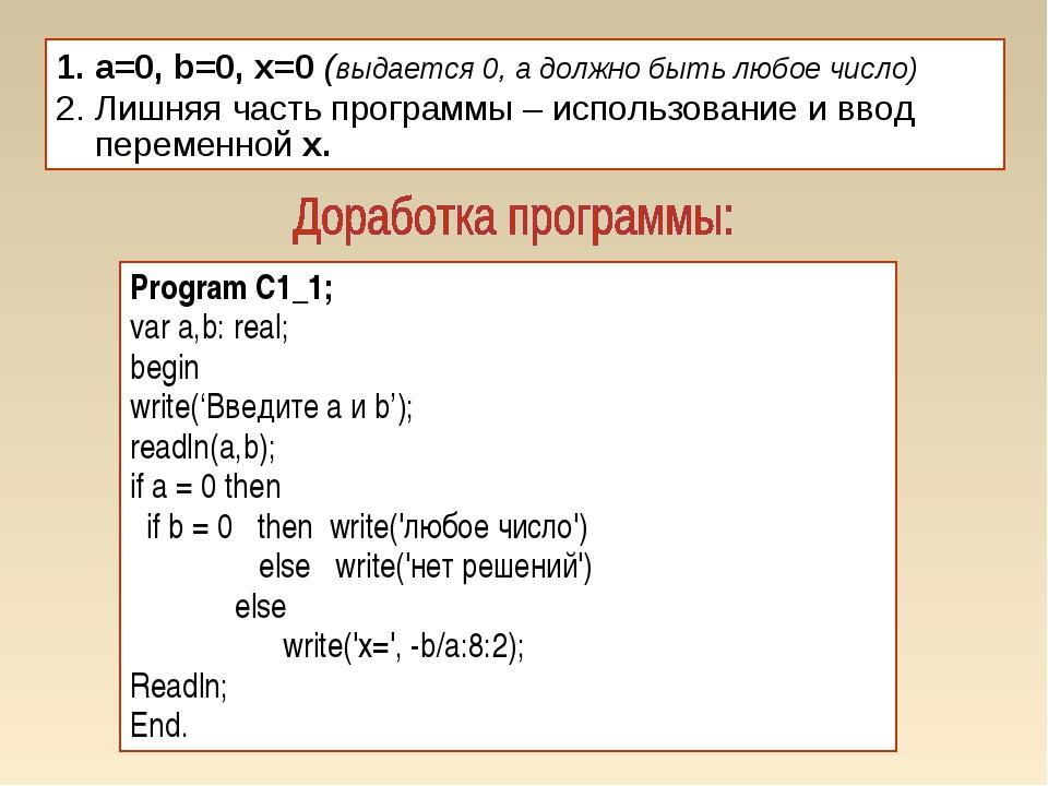 a=0, b=0, x=0 (выдается 0, а должно быть любое число) Лишняя часть программы...