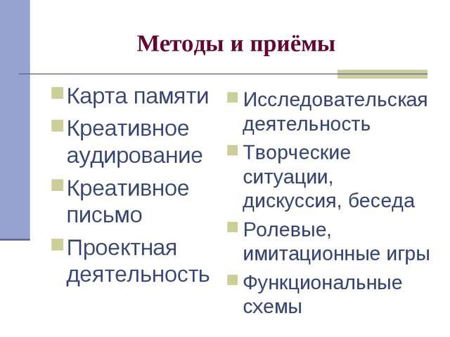 Методы и приёмы Карта памяти Креативное аудирование Креативное письмо Проектн...