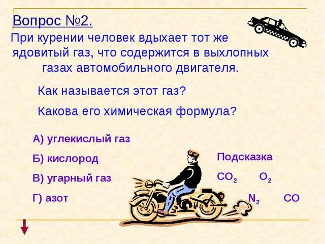 Вопрос №2. При курении человек вдыхает тот же ядовитый газ, что содержится в...