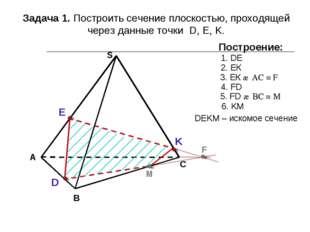 А В С S Задача 1. Построить сечение плоскостью, проходящей через данные точки
