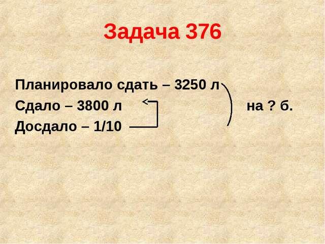 Задача 376 Планировало сдать – 3250 л Сдало – 3800 л на ? б. Досдало – 1/10
