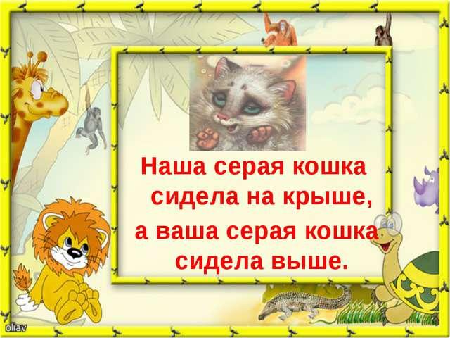 Наша серая кошка сидела на крыше, а ваша серая кошка сидела выше.