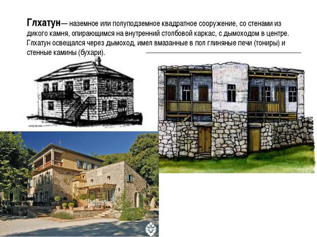 Глхатун— наземное или полуподземное квадратное сооружение, со стенами из дико...