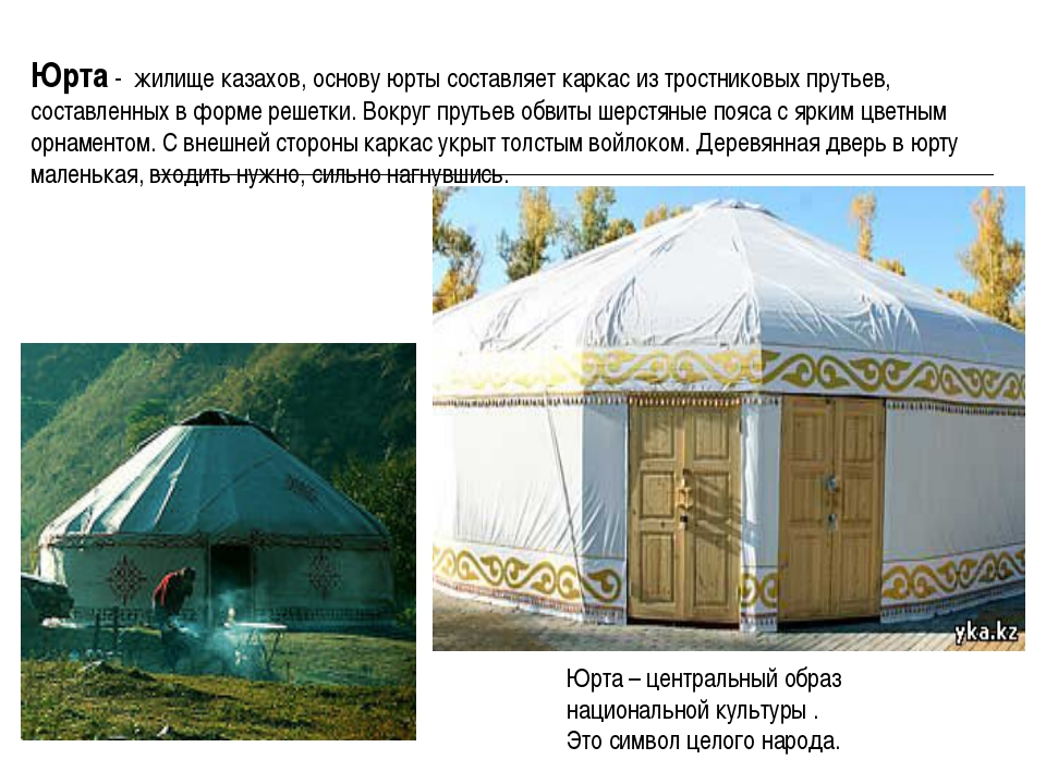 Юрта - жилище казахов, основу юрты составляет каркас из тростниковых прутьев,...