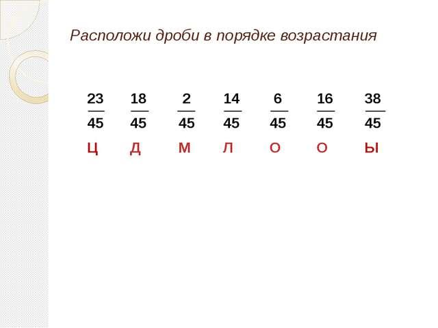 Расположи дроби в порядке возрастания 23 45 Ц 18 45 Д 2 45 М 6 45 О 16 45 О...