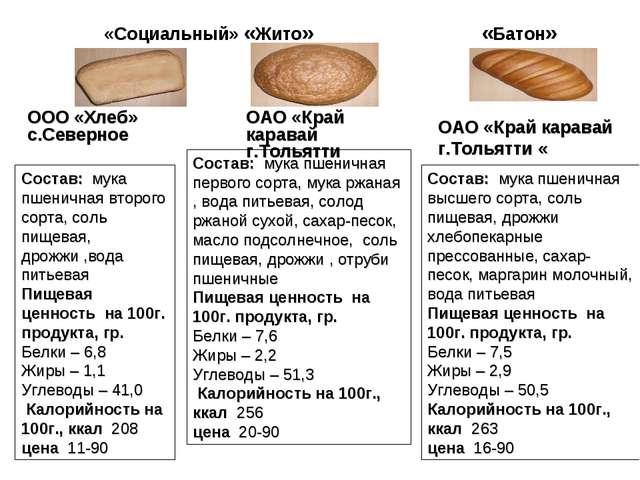 «Социальный» «Жито» «Батон» ООО «Хлеб» с.Северное ОАО «Край каравай г.Тольятт...