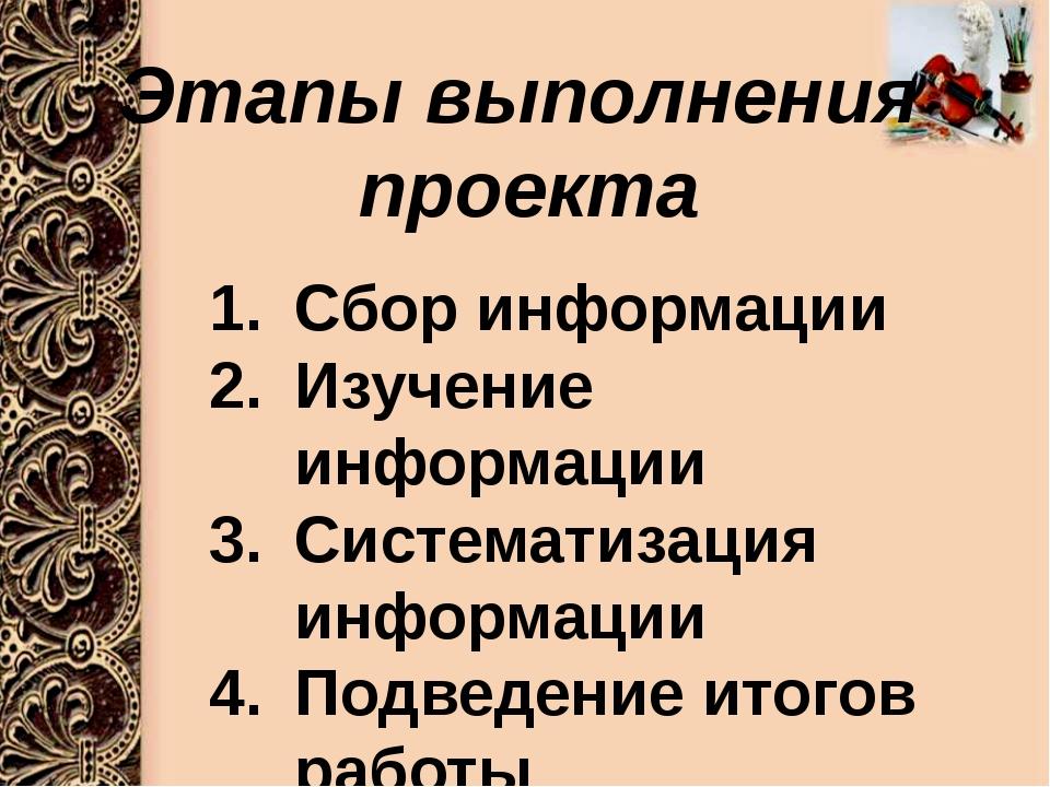 Этапы выполнения проекта Сбор информации Изучение информации Систематизация...